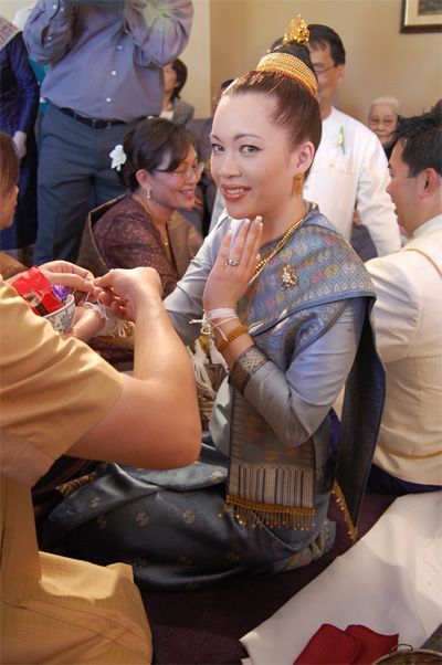 laos Wedding Dresses   ... of the traditional Lao wedding ceremony, Sookhwan , over the weekend