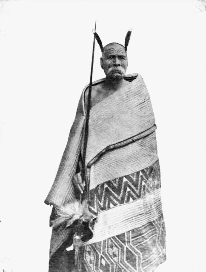 Maori man, possibly Nikorima Tamaihurihuri, wearing a Maori cloak