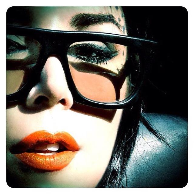 Kat Von DBeautiful Makeup, Lipsticks Colors, Glasses, Kat Von D, Black Hair, Katvond, Makeup Face, Orange Lipsticks, Kate Von