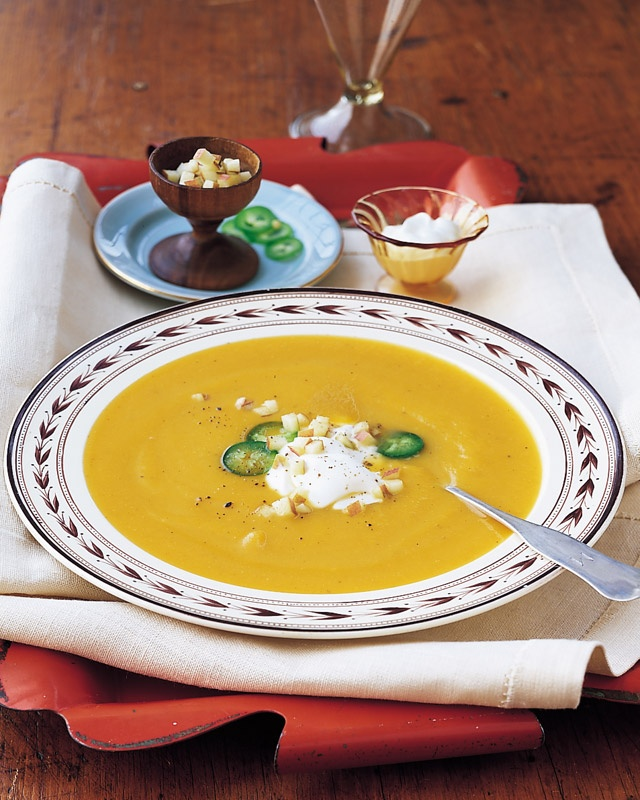Apple-Butternut Squash Soup - Martha Stewart Recipes.    I made this soup last week; the epitome of fall. The sour cream is a must, it makes the dish...enhancing all of the flavors.