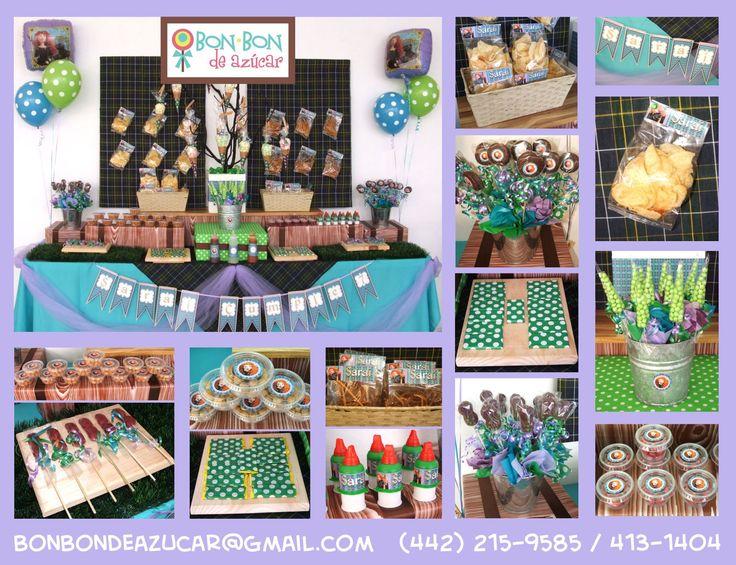 Mesa de dulces y snacks con tema de valiente art culos - Mesas infantiles disney ...