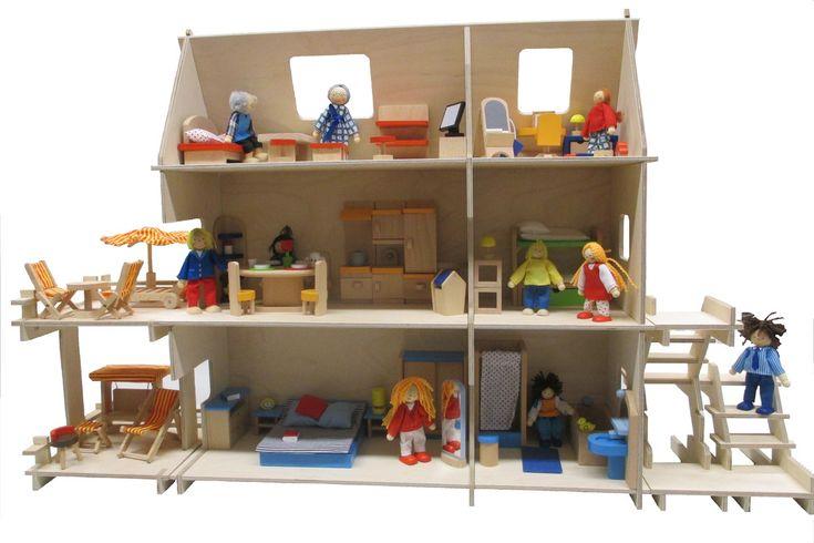 Puppenstuben - Puppenhaus, Holz, Stecksystem, 3 Etagen, 6 Zimmer - ein Designerstück von OPA-HEINZI bei DaWanda