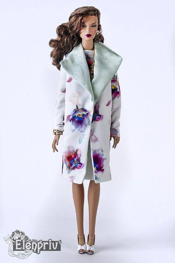 ELENPRIV white flower printed cardigan for Fashion royalty
