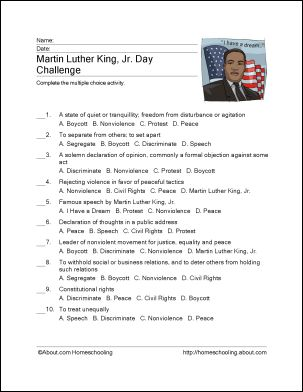 8 Printout Activities for Martin Luther King Day: Martin Luther King, Jr. Challenge