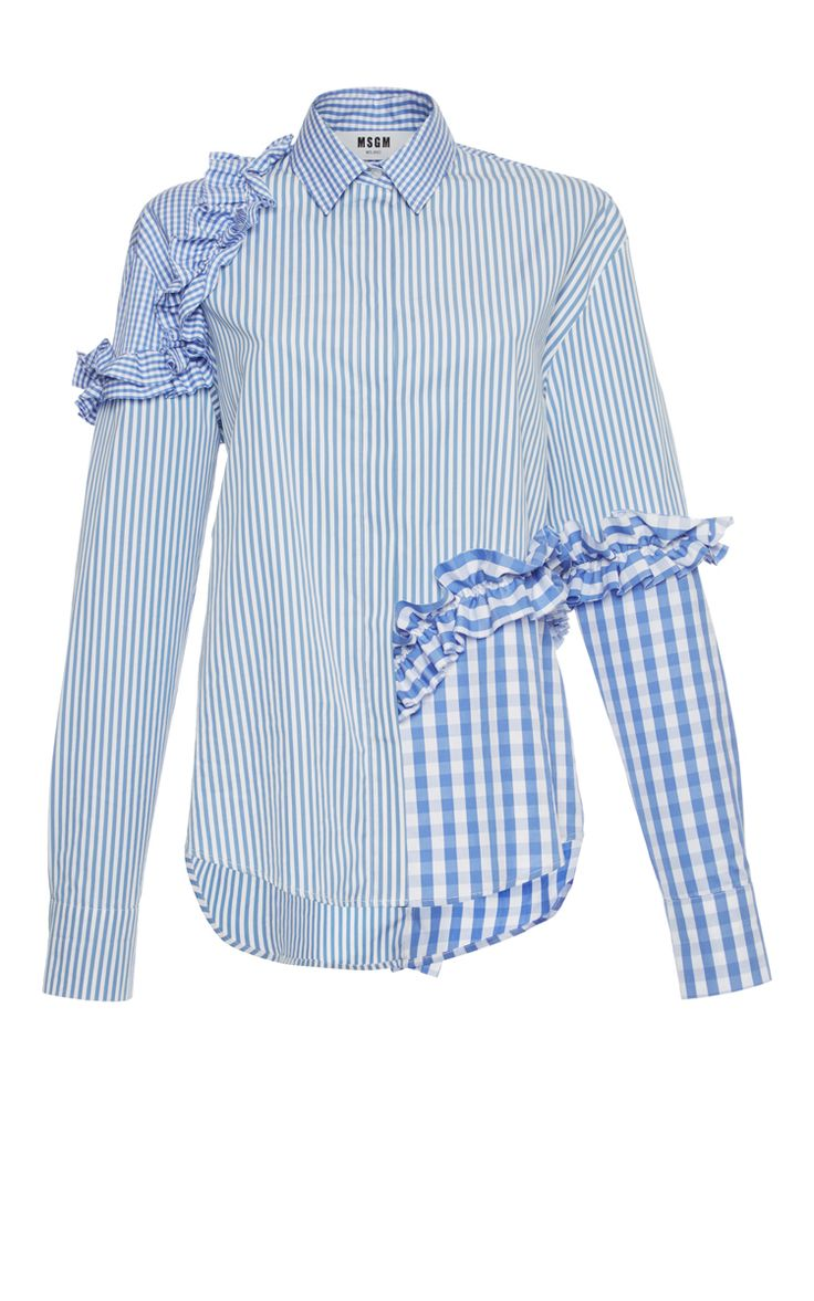Gingham Stripe Ruffle Shirt by MSGM Now Available on Moda Operandi