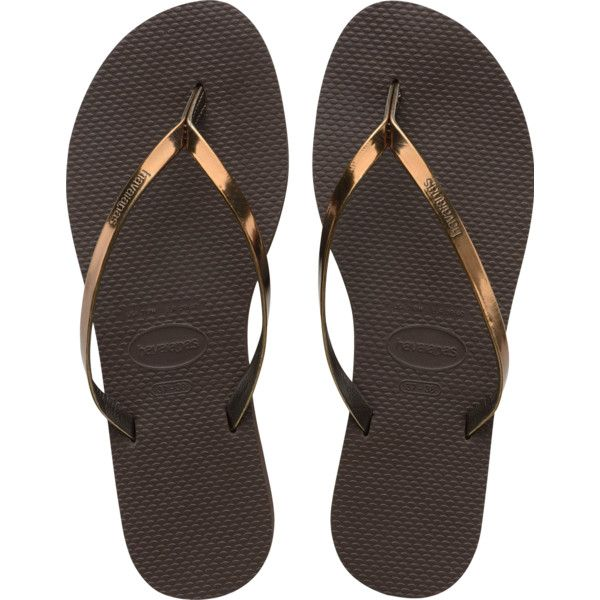 Women's Dark Brown You Metallic Flip Flop - Havaianas (89 BRL) ❤ liked on Polyvore featuring shoes, sandals, flip flops, havaianas sandals, havaianas, havaianas shoes, havaianas flip flops and dark brown shoes