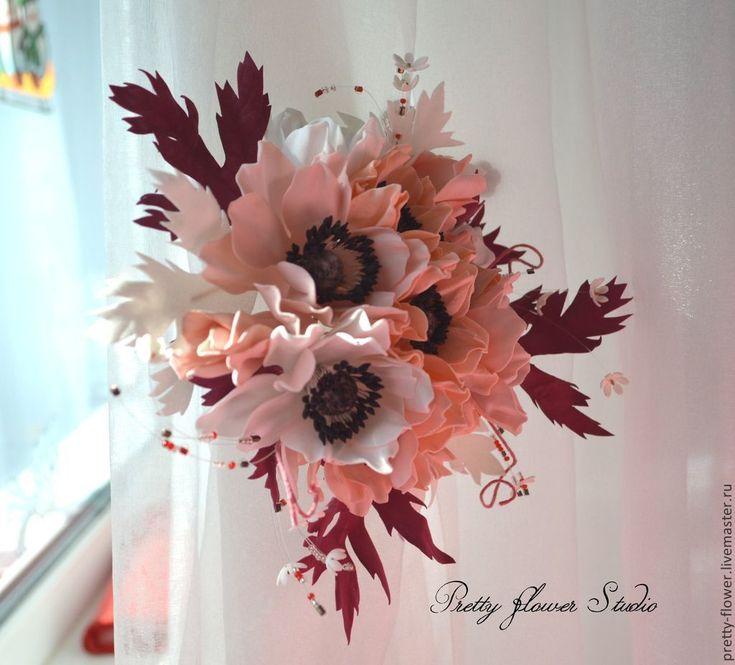 Купить Бордово-персиковый каприз--декор для штор - разноцветный, персиковый, бордовый, белый, Декор
