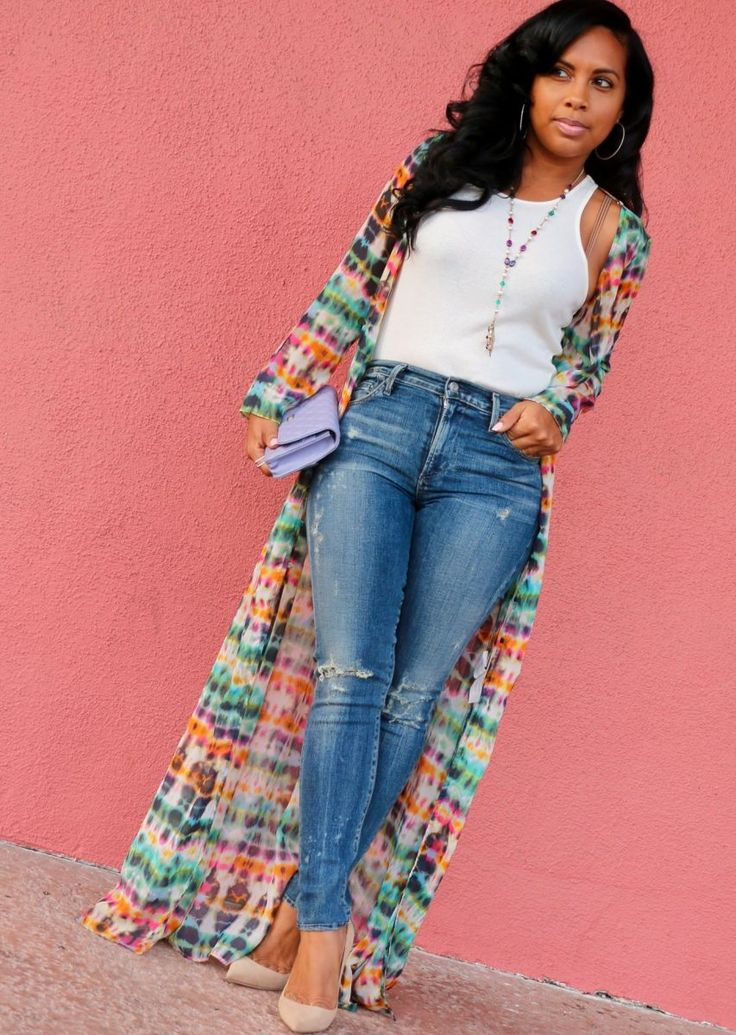 Shirt Dress Cover Up + Plain White Top + Skinny Jeans ...