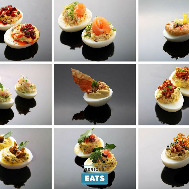 All of these flavored deviled eggs have the same bright, fresh, acidic bite of the original, but we've amped them up with other ingredients, ranging from subtle to in-your-face.