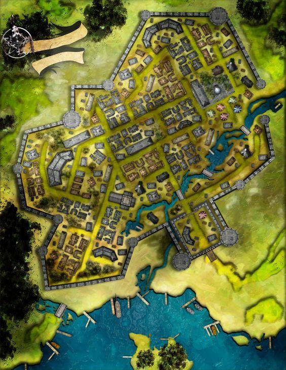 Cidade das Ilhas | Fantasy in 2019 | Fantasy map, Fantasy city map, on