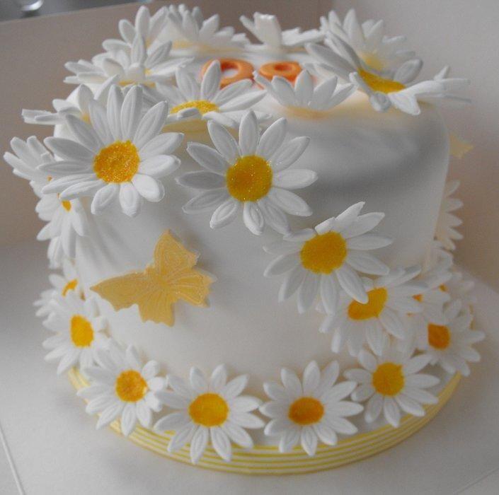 Украсить торт ромашками из мастики фото