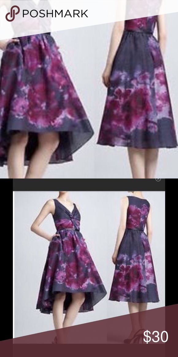 🌺NEIMAN MARCUS watercolor dress🌺 Size 8 Designer Lela Rose Neiman Marcus for target. Beautiful blue dress with beautiful water colors of plums and purple. Simply beautiful. Lined with satin and tulle in between Neiman Marcus Dresses High Low