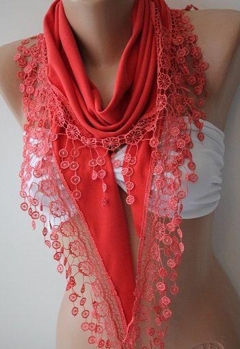 Coral Scarf Shawl Triangle Lace Scarf Scarves by SwedishShop