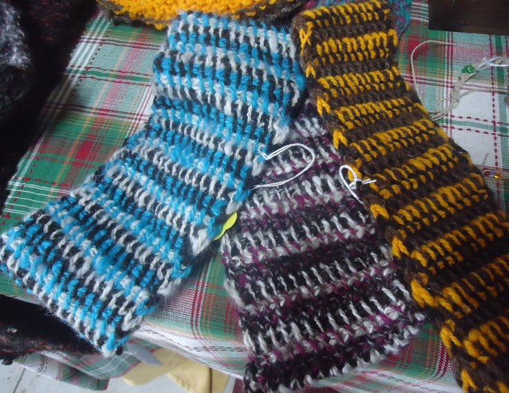 Three colored tuisian crochet was used to create these warm wool headbands at Angel's Wool Farm!