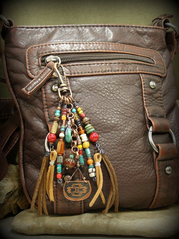 Tribal Purse Clip, Key Chain Tassel, Beaded Tassel Clip for your jeans belt loop by StoneWearDesigns