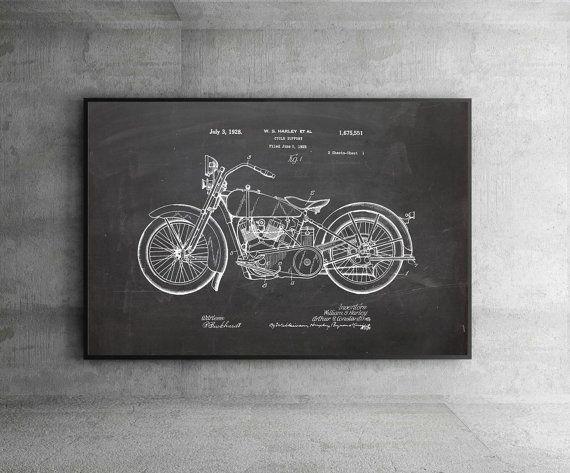 SALE Patent Prints Harley-Davidson artdavidson by artRuss on Etsy