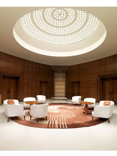 I Love this room  Original pinner-Eltham Palace. Entrance Hall. I carried out the analysis of the interiors of this 1930s house - http://patrickbaty.co.uk/2010/12/08/eltham-palace/