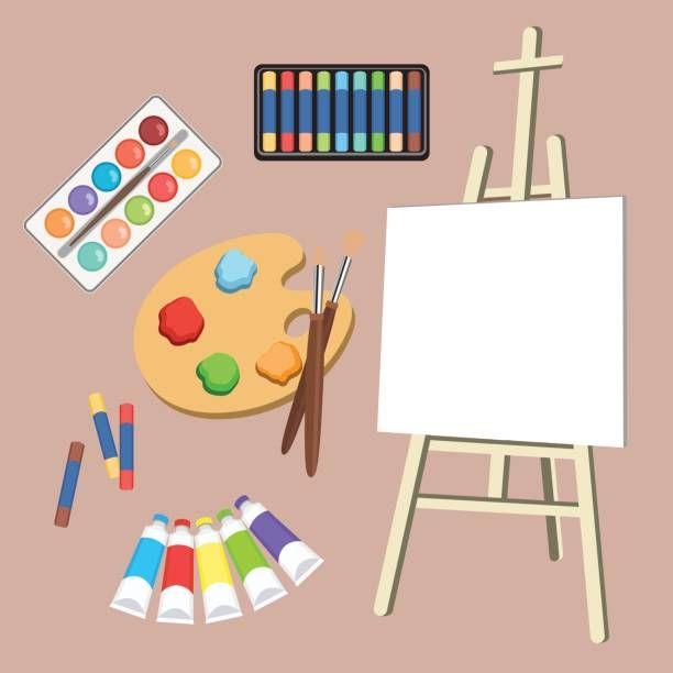 Realistic Art Supplies Set Art Materials Artist Accessories