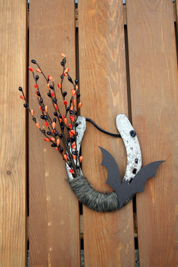 halloween decorated horseshoe october decoration bat decor rustic western decor fall horse theme 2500 usd