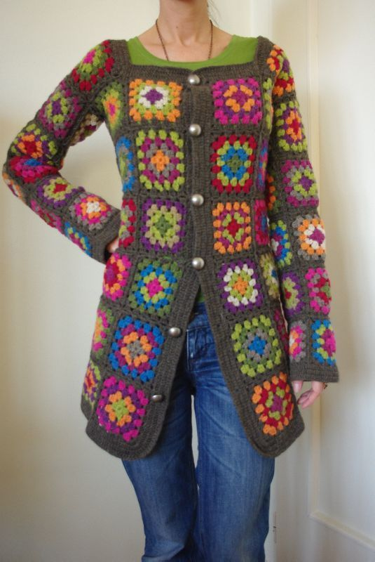 "Granny Square Jacket--this may have an ""old-fashioned"" look to it, but I love it!! Reminds me of my Mom."