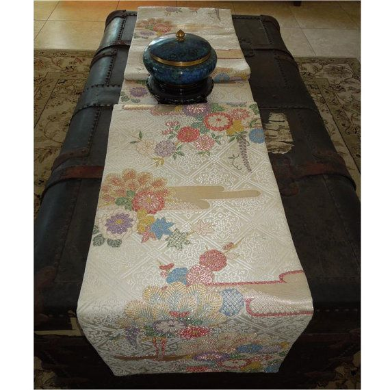 Long silk obi table runner silvery white with clouds of for 102 table runners