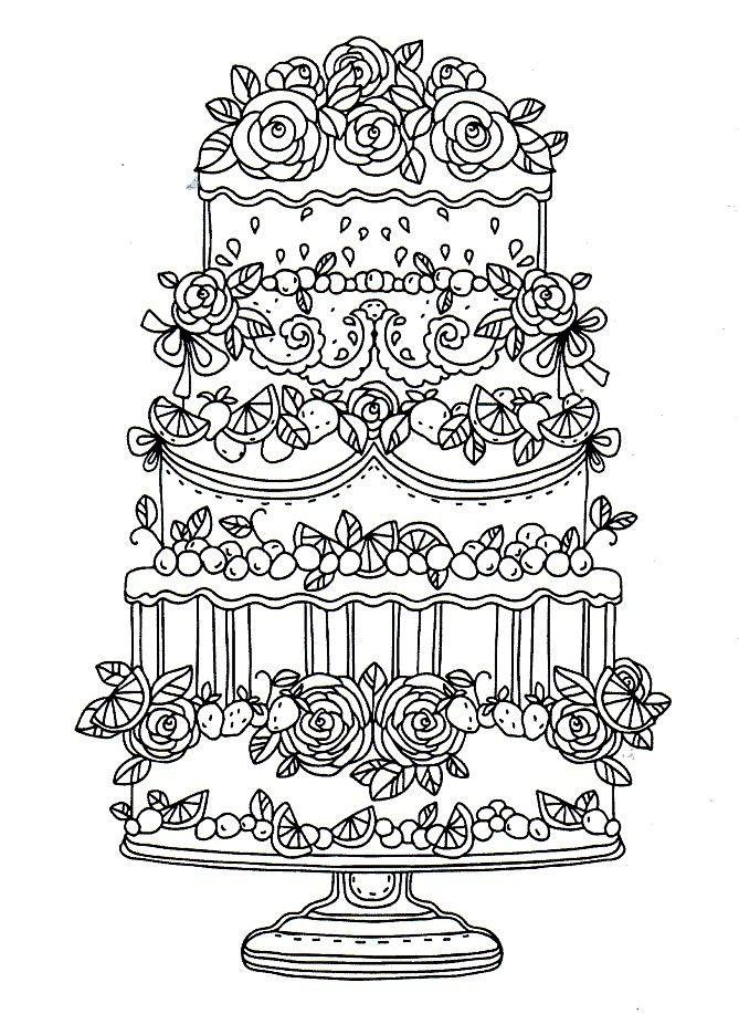 kleurplaat taart kleurplaten kleurboek afdrukken