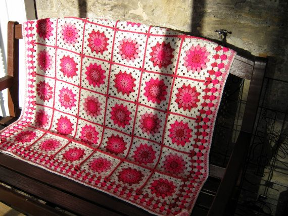 Pink Posy Crochet Granny Square Blanket Aghan