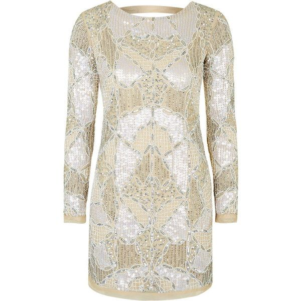 TOPSHOP PETITE Limited Edition Bodycon Dress ($175) ❤ liked on Polyvore featuring dresses, topshop, nude, petite, petite cocktail dress, beaded dress, petite dresses, beaded bodycon dress and white dress