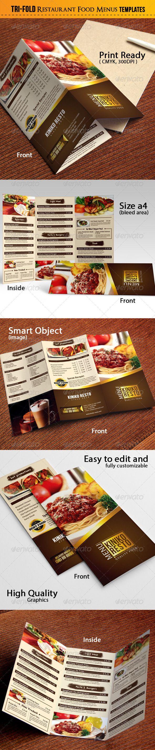 Tri-Fold Food Menu Template #design Download: http://graphicriver.net/item/trifold-food-menu/7345321?ref=ksioks