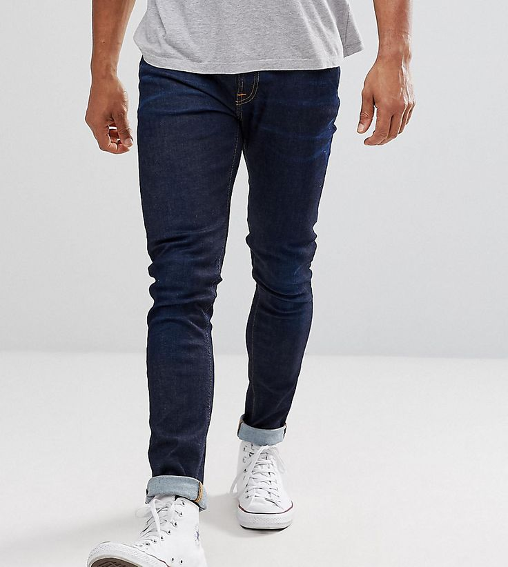 NUDIE JEANS CO SKINNY LIN JEANS NEARLY DRY WASH - NAVY. #nudiejeans #cloth #