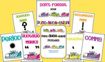 A fun way to remind students to include their punctuation!  PuncSHOEation posters!  Includes a full page poster for period, exclamation mark, quest...Teaching Languages Art, Puncshoeat Posters, Reading Languages, Fun Punctuation, Punc Shoes Posters, Free Fun, Teachers Notebooks, Punctuation Posters, Classroom Ideas