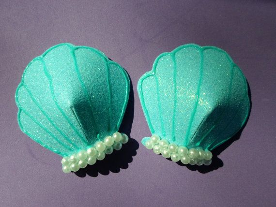 Seashell Pasties Oversized for Mermaid Bra by CodysCatHats on Etsy, $18.00