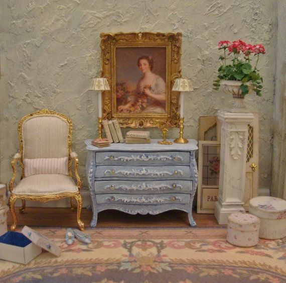 Paris Chic Periwinkle White Washed Commode 1:12th Scale Miniature Dollhouse Furniture