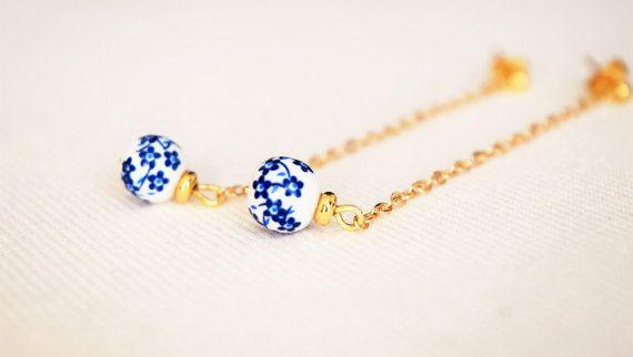 Blue Ceramic 6 mm flower pendant earrings on gold plated chain. Vintage. handmade. Stainless steel. Hypoallergenic.  SHORT and BIGGER version: