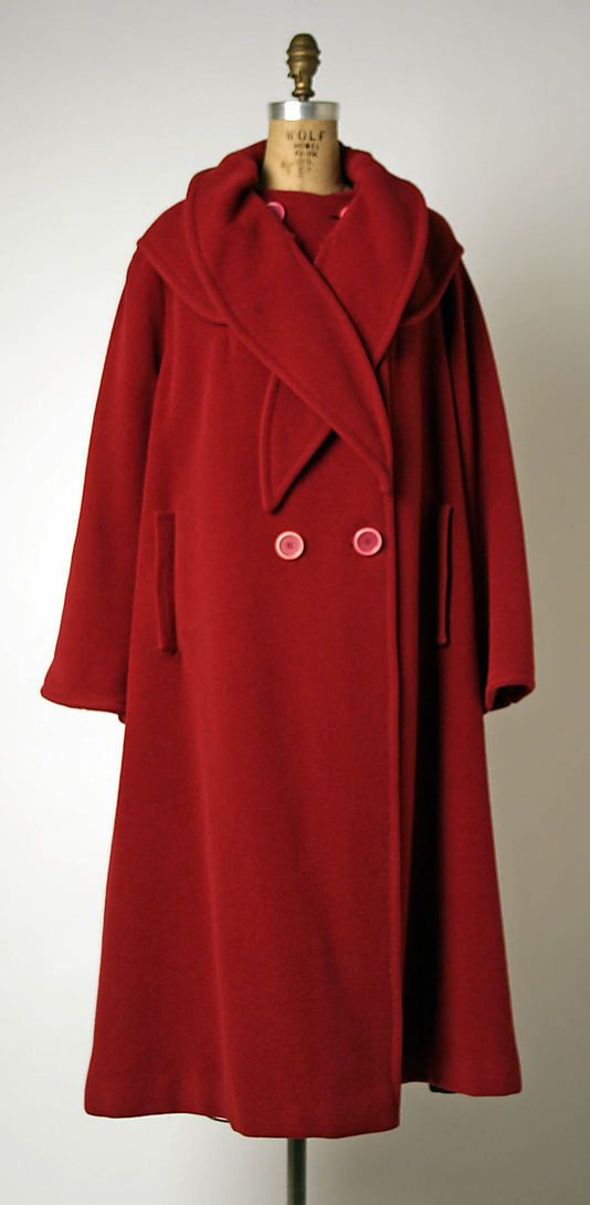 Coat  House of Balmain (French, founded 1945)  Designer: Pierre Balmain (French, St. Jean de Maurienne 1914–1982 Paris) Date: 1951–55 Culture: French Medium: wool