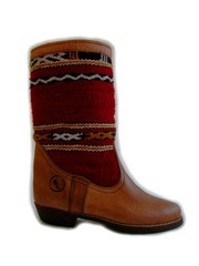 Atlas red - handmade leather and kilim