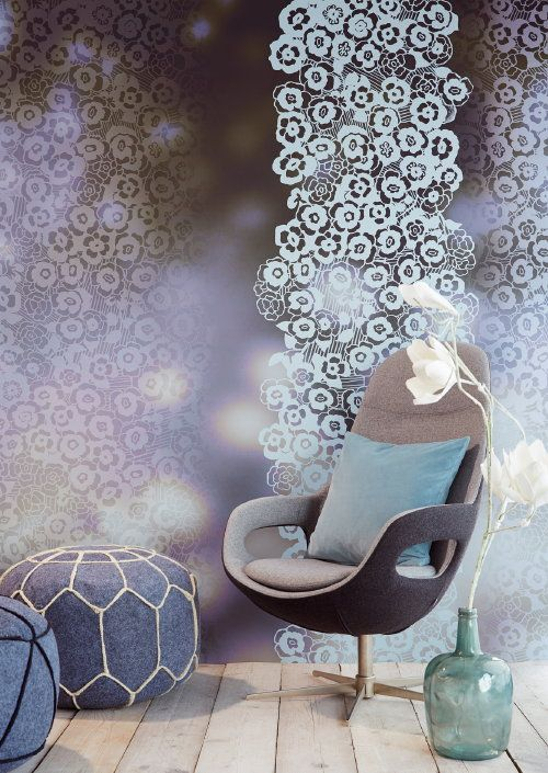 Isn't this beautiful? Newest @Eijffinger®® #Wallpaper from the #Eijffinger Raval Collection Number: 341590, Blauw, Grey and Stylish Flowers. #Behang