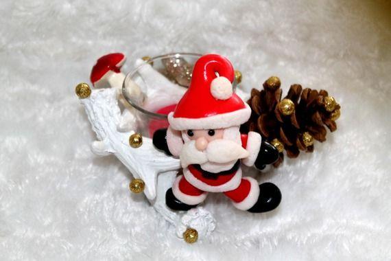 Bougeoir Père Noël en pâte polymère fimo