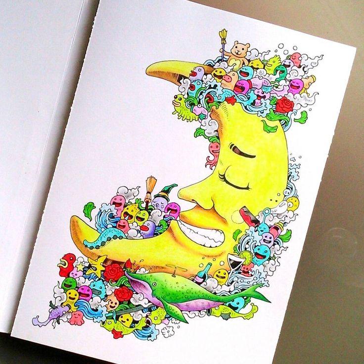 Tym Razem Kredki Cienkopisy Adultcoloringbook Coloringbook Colouringforadults Colouring Doodleinvasion