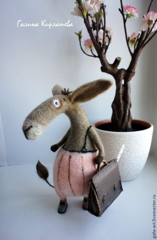 Купить учёный ослик Аристарх (уехал на выставку до середины ноября) - серый, ослик, осёл