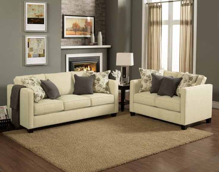High Quality 2 Pc Aura Creampuff Fabric Upholstered Sofa And Love Seat Set With Square  Arms