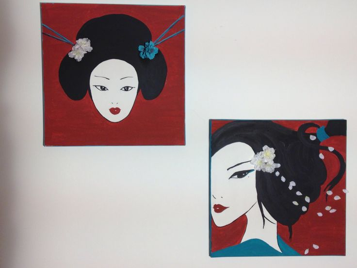 Geisha: selfmade canvas paintings.