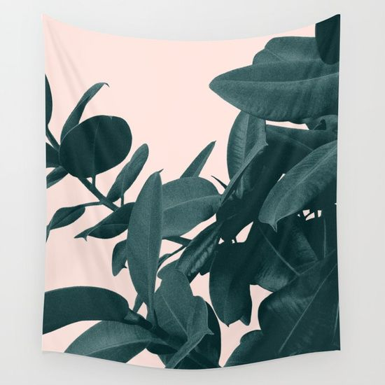 Imagine Wall Tapestry. #graphic-design #other #botanical #plant #ficus #peach #green #garden #floral #foliage #tropical #summer