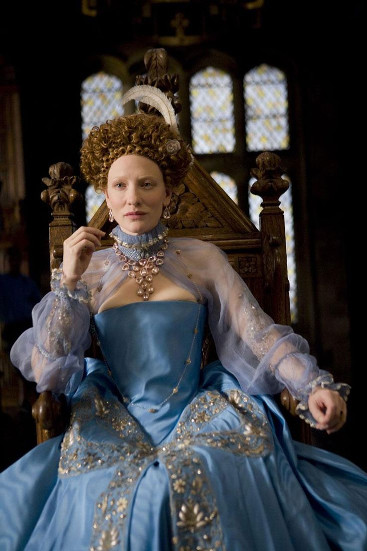 """Elizabeth: The Golden Age"" (2007)- Cate Blanchett as Queen Elizabeth in a stunning blue and gold embroidered gown."