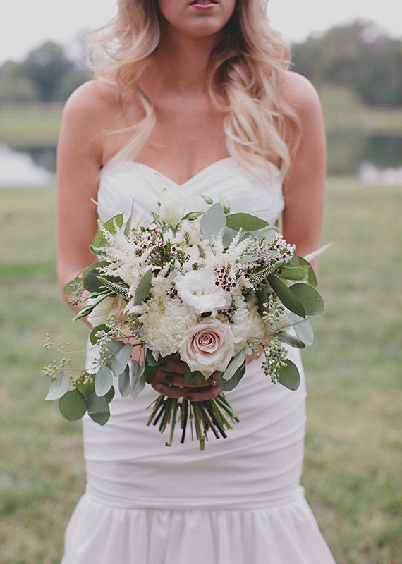 rose, Veronica, astilbe, wax flower, seeded eucalyptus, football mums bridal bouquet   photos by Nicole Roberts   100 Layer Cake