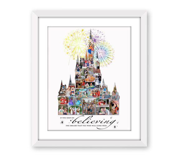 Walt Disney World Inspired Cinderella's Castle Fan Art Vacation Custom Photo Collage Digital Printable Home Decor