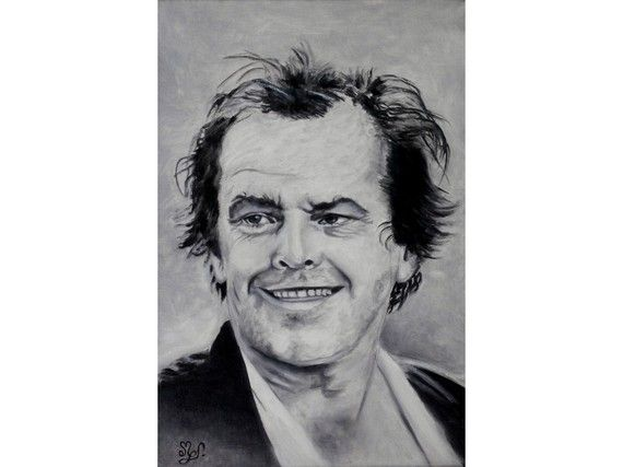 Portrait noir et blanc à l'huile de Jack Nicholson