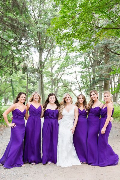 Bright purple bridesmaid dresses: http://www.stylemepretty.com/massachusetts-weddings/2015/05/15/elegant-massachussetts-restaurant-wedding/ | Photography: Servidone Studios - http://servidonestudios.com/