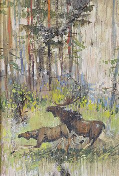 Ilya Kondrashov - Moose Couple in the Wood  #RussianArtistsNewWave #OriginalArtForSale  #OriginalPainting #IlyaKondrashov #Moose #Woods #PaintingonBirchBark #Russia #Painting