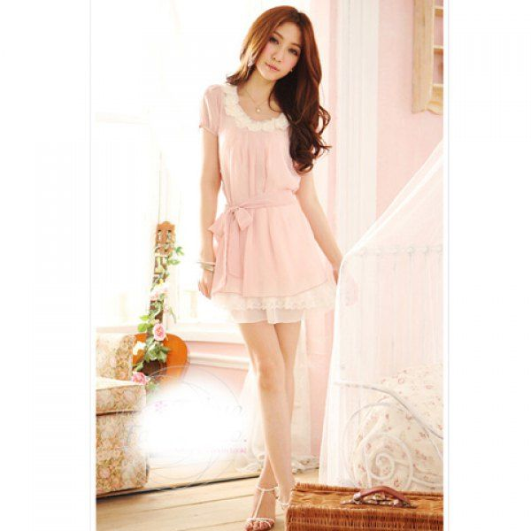 New Arrival Lovely and Comfortable Style Flower Decorated Waisted Chiffon Dress